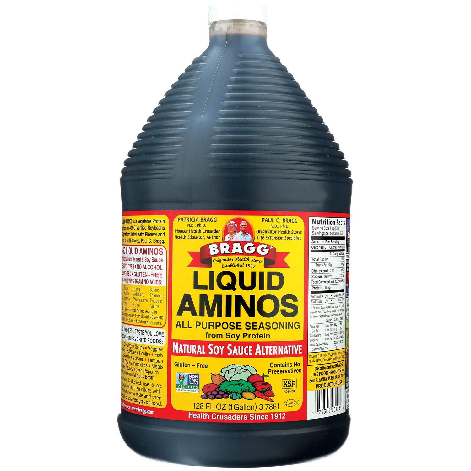 Bragg Liquid Aminos All Purpose Seasoning – Soy Sauce Alternative – Gluten Free, No GMO's, Kosher Certified, 1 Gallon