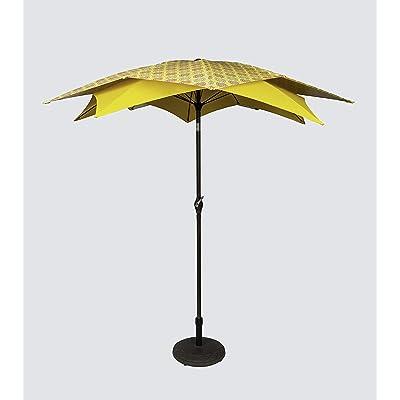 Pebble Lane Living Wind Resistant Lotus Flower Design 8' Patio Market Umbrella with Crank - Yelow : Garden & Outdoor
