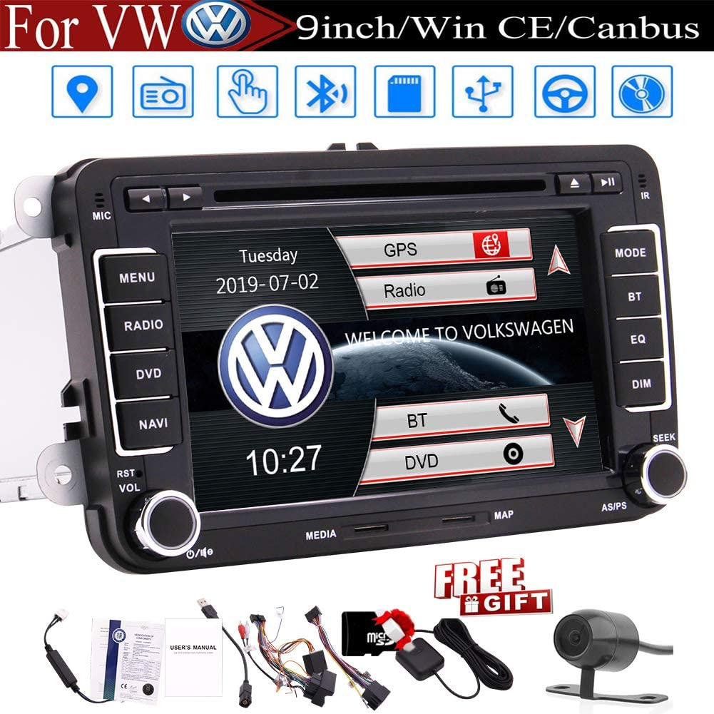 7 inch Car Radio Touch Screen Double Din Car Receiver Stereo Head Unit in Dash GPS Navigation for Volkswagen Bluetooth Car DVD CD Player VW Passat ...