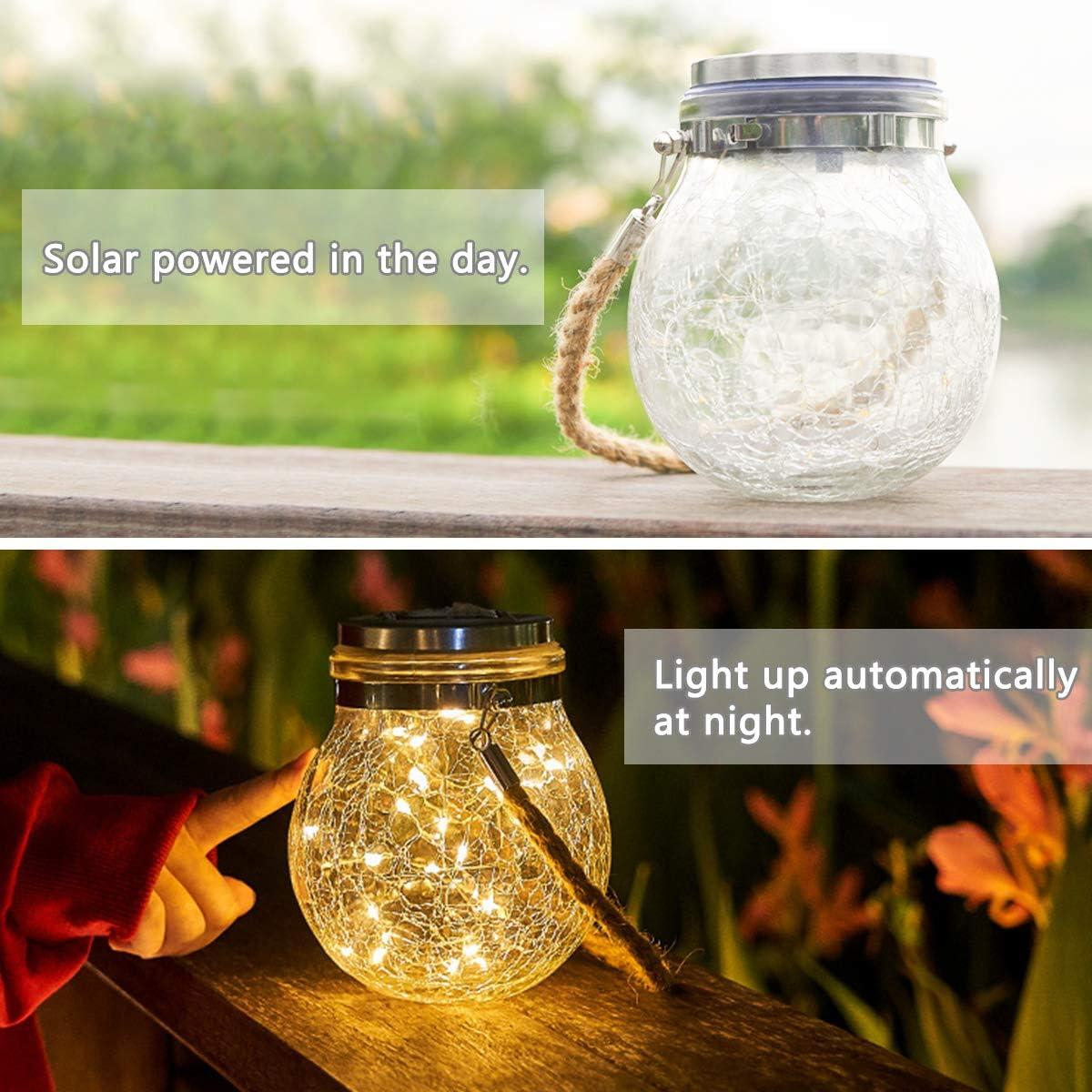 Cortile- 2 Pezzi Lampade Solari in Vetro IP65 Luce Solare Impermeabile Luce Bianca Sospesa Calda Luci a LED per Giardino Festa Balcone VIFLYKOO Luce Solare Giardino Camera da Letto