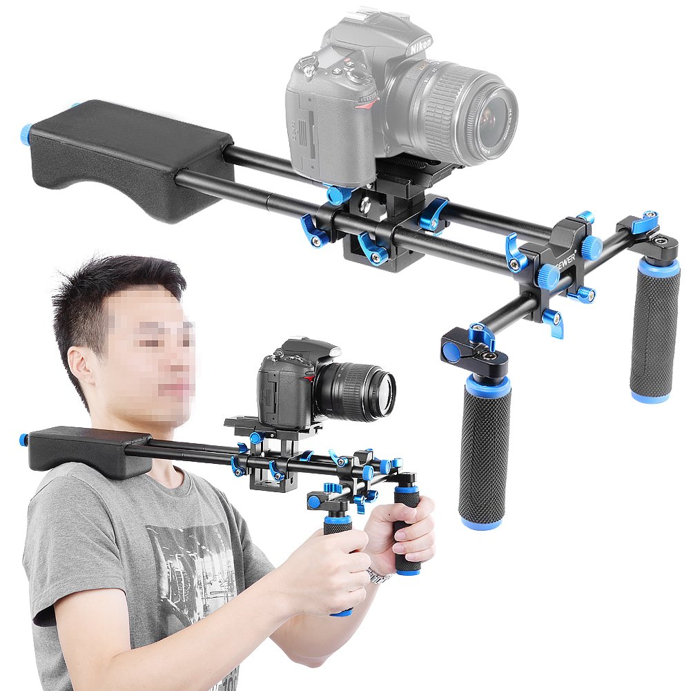 Soft Rubber Shoulder Pad and Dual-Hand Handgrip for All DSLR Video Cameras and DV Camcorders Red Neewer Portable Camera Movie Video Making System with Camera//Camcorder Mount Slider