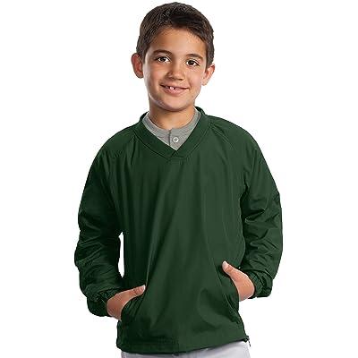 Sport-Tek Youth V-Neck Wind Shirt, S, Forest Green