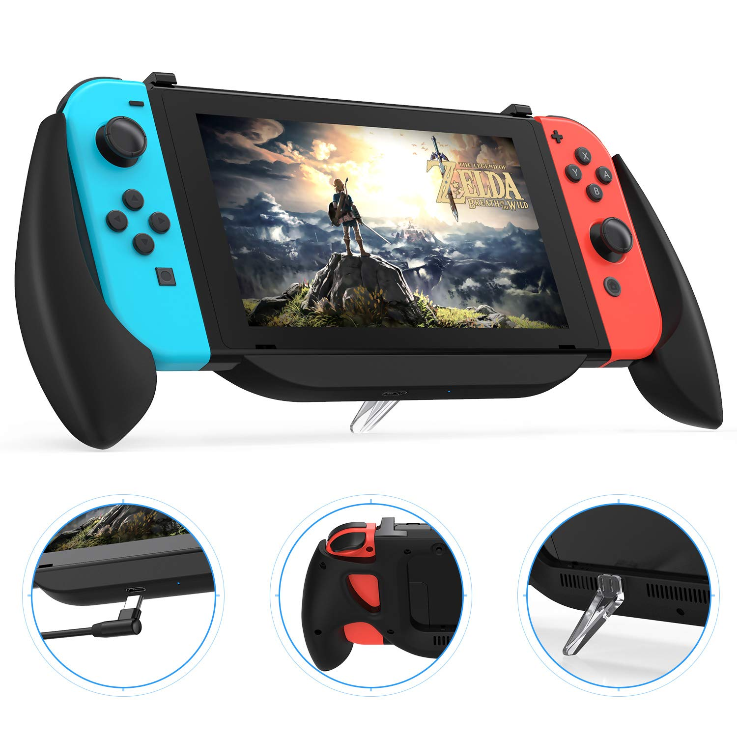 Charging Grip Case for Nintendo Switch, Vivefox Ergonomic Switch Charging Case Quick Charge Compatible 5V 2A Protective Case for Nintendo Switch Charge and Play Kit 2019 Latest Version (Frosted-black) by Vivefox