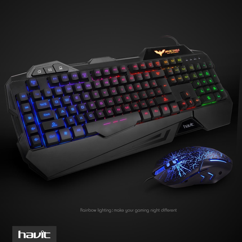 HAVIT HV-KB558CM LED Adjustable Backlit Brightness {UK Layout} Gaming keyboard and Mouse Combo Set (Black), [Importado de Reino Unido]: Amazon.es: ...