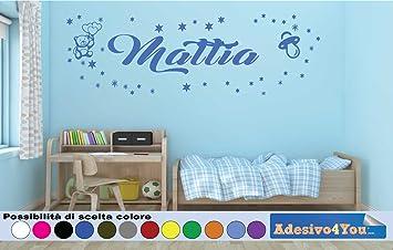 Decorazioni Pareti Orsetti : Adesivi murali bambini nome personalizzato con orsetto stelline e
