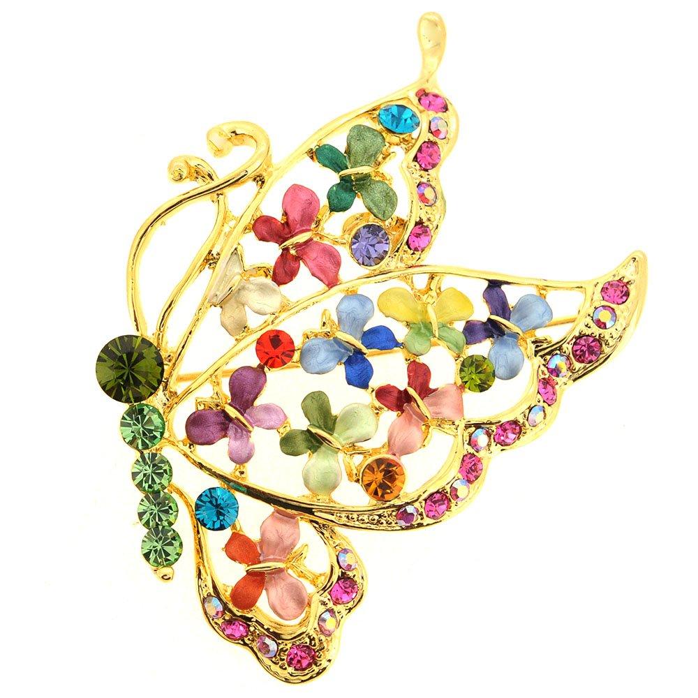 Fantasyard Multicolor Butterfly Pin Swarovski Crystal Pin Brooch