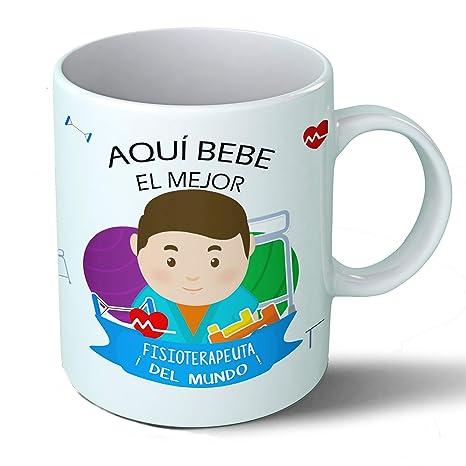 Planetacase Taza Desayuno Aquí Bebe el Mejor fisioterapeuta del Mundo Regalo Original Fisioterapia Ceramica 330 mL