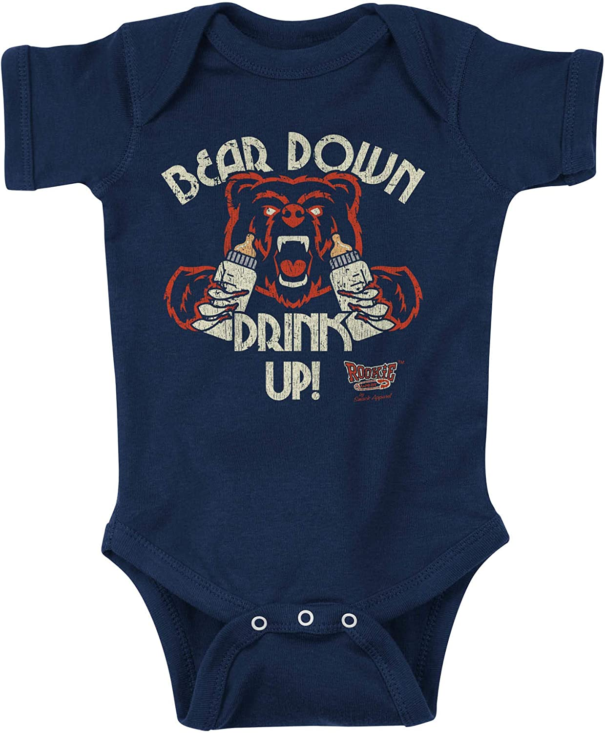 Rookie Wear by Smack Apparel Chicago Football Fans NB-4T Bear Down Drink Up Navy Onesie or Toddler Tee