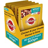 Pedigree Adult Wet Dog Food, Chicken and Liver Chunks in Gravy, 80 g (Pack of 5)
