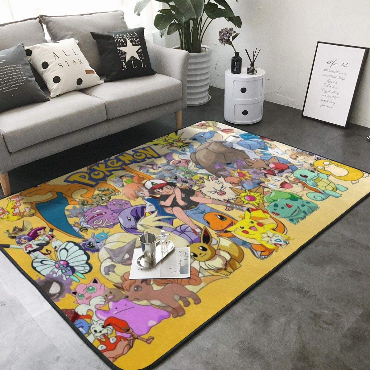 Poke-mon Ee-v-ee (4) Home Decoration Large Rug Floor Carpet Yoga Mat, Modern Area Rug for Children Kid Playroom Bedroom 63 x 48 inch