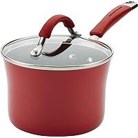 Rachael Ray Cucina Nonstick Sauce Pan/Saucepan with Lid, 2 Quart, Red