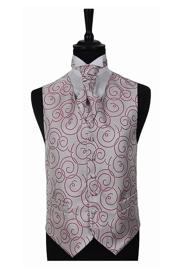 Círculo para hombre fucsia círculo Boda chaleco y corbata.: Amazon ...