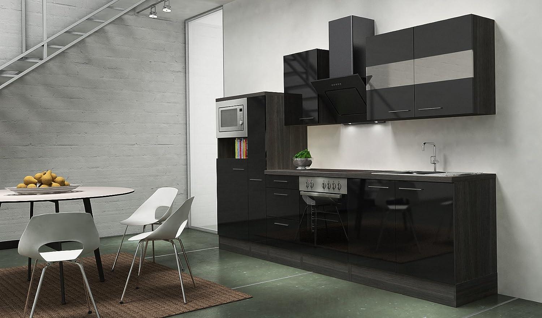 respekta Premium Instalación de Cocina Cocina 300 cm Botiquín de Gris de Roble Negro Brillante vitrocerámica: Amazon.es: Hogar