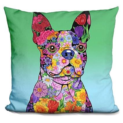 Amazon LiLiPi Flowers Boston Terrier Decorative Accent Throw Impressive Boston Terrier Decorative Pillow