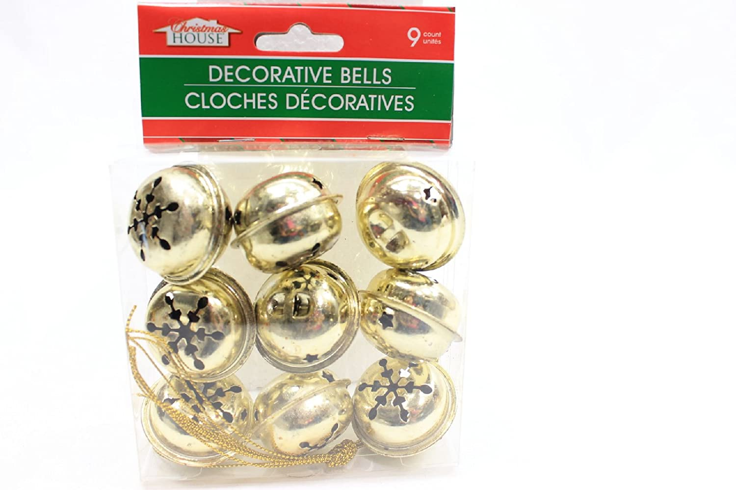 Gold Pack of 2 Awnabelle No Model 9 Large Christmas House Aged Finish Snowflake Cutout Jingle Bells