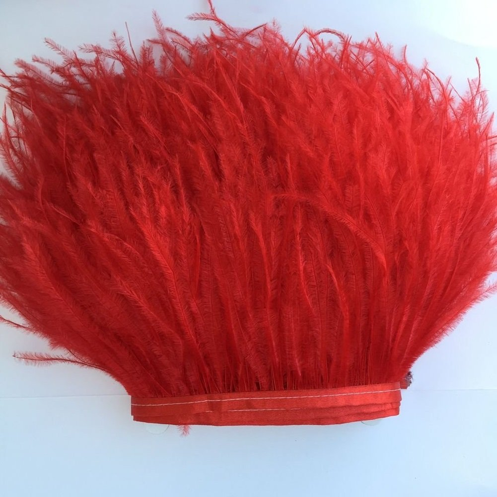 Champagne KOLIGHT Pack of 2 Yards Natural Dyed Ostrich Feathers Trim Fringe 4~5inch for DIY Dress Sewing Crafts Costumes Decoration