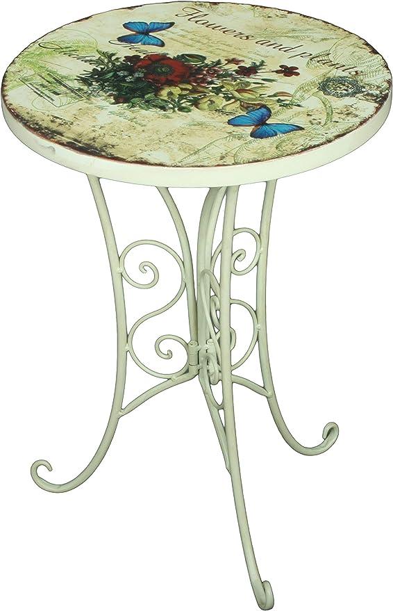 Metalltisch rund Beistelltisch Landhausstil Tisch Antik Gartentisch Eisen