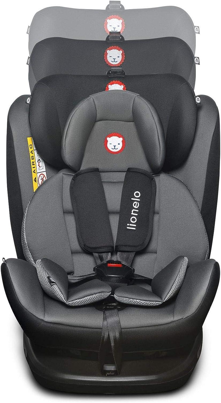 grupo 0+ 1 2 3 Lionelo Bastiaan 0-36 kg Asiento infantil para coche , ISOFIX 360/°, certificado T/ÜV S/ÜD, ECE R 44//04 negro Gris y negro.