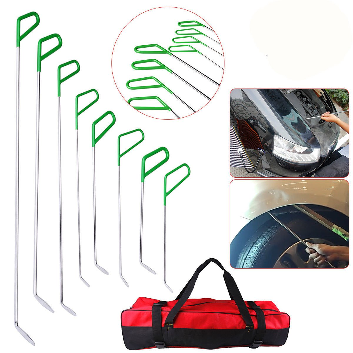 AUTOPDR Special PDR Car Body Dent Repair Removal Tools Automotive Body Dent Remover Tools Kits Set Green Stainless Steel PDR Rod Sets Hail Slide Hammer Tool Kit Set Dent Puller with Tool Bag