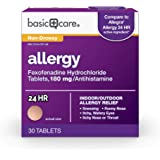 Amazon Basic Care Allergy, Fexofenadine Hydrochloride Tablets, 180 mg, Antihistamine for Allergy Relief, Non-Drowsy, 30…