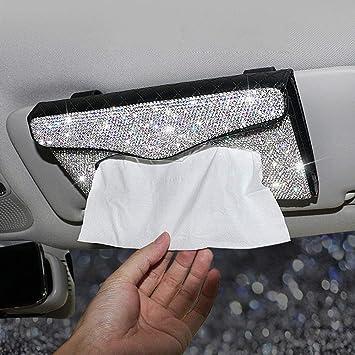 Bling Bling Car Tissue Holder Crystal Sparkling Car Napkin Holder PU Leather Sun Visor Tissue Box Car Accessories for Women,Black.