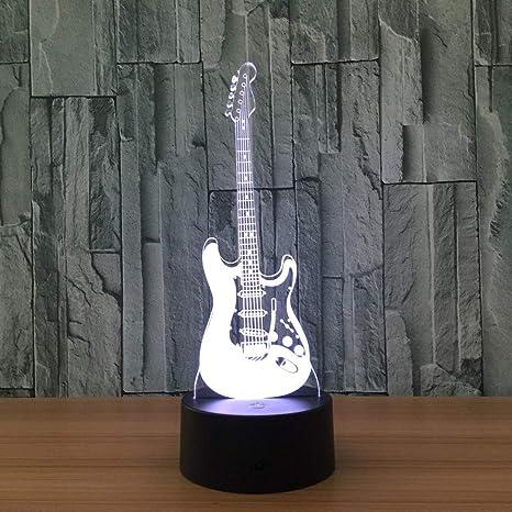 Mddjj Regalo 3D Música Eléctrica Lámpara Ilusión De La Guitarra Led 7 Cambio De Color Gradiente