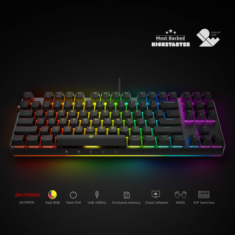 Amazon.com: DREVO BladeMaster TE 87K Mechanical Gaming Keyboard Radi RGB Backlit, USB Wired, Programmable Genius Knob, Linear Silent Gateron Red Switch: ...