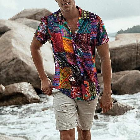 Overdose Camisas Hombre Hawaianas Estilo étnico para Hombre Tie Dye Media Manga Casual Algodón De Lino Camisa Estampada Blusa Tallas Grandes