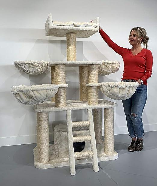 Rascador para gatos grandes Black Panther PLUS Beige baratos arbol xxl maine coon gato adultos con hamaca gigante sisal muebles sofa escalador torre Árboles rascadores cama cueva repuesto medianos: Amazon.es: Productos para