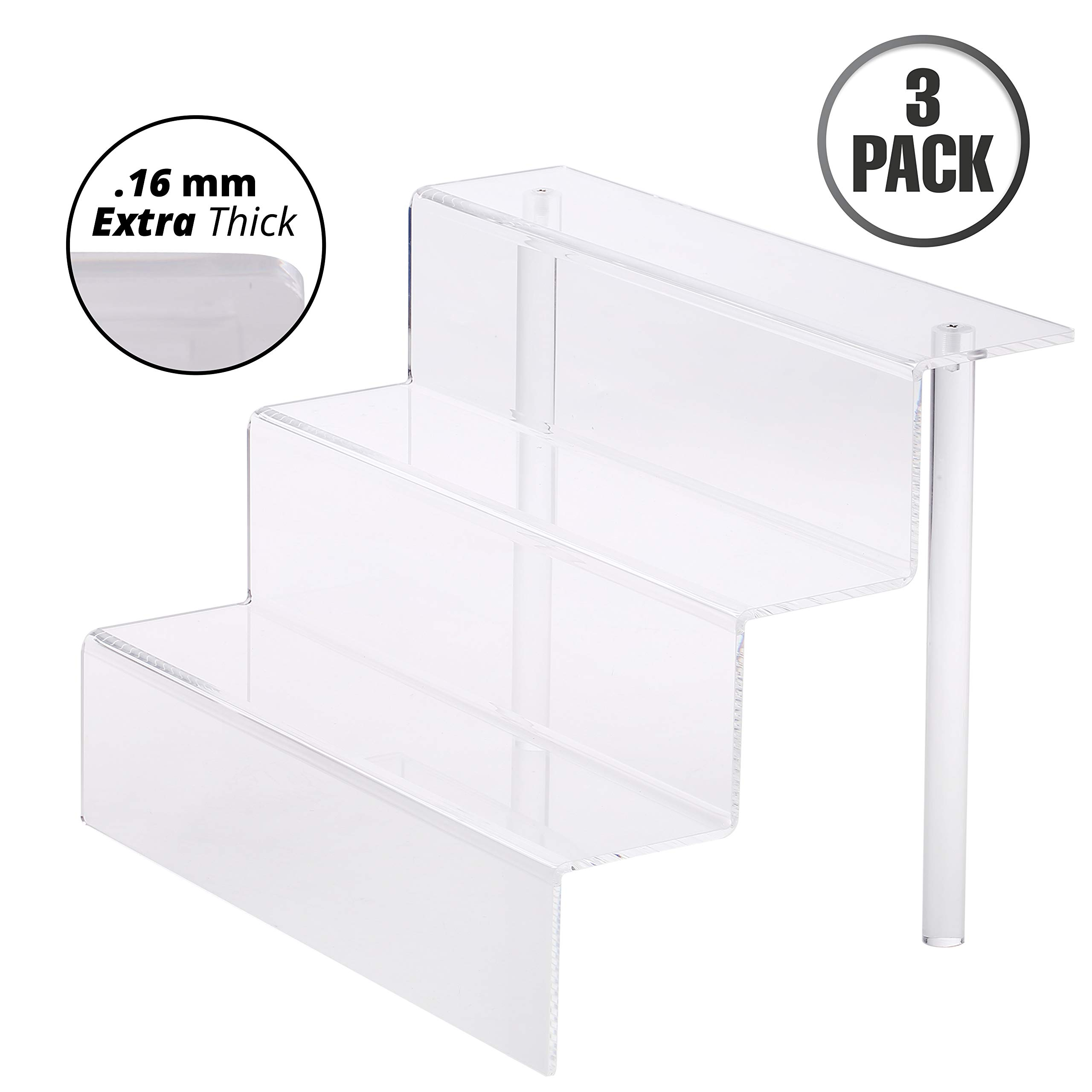 Mammoth Clear Acrylic Figure Display Riser Stand for Small Amiibo, Funko, Pop Figurine, Cupcake, Perfume, Spice and Merchandise, 3 Tier Display Risers Steps for Table Counter, Desk, and Shelf (3 Pack)