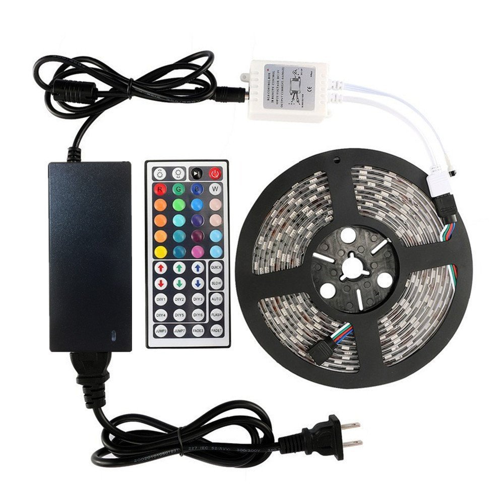 LED Strip Lights Kit – 32.8ft (10M) 300 LEDs SMD 5050 RGB Light with 44 Key Remote Controller, Extra Adhesive 3M Tape, Flexible Changing Multi-Color Lighting Strips for TV, Room (10M)