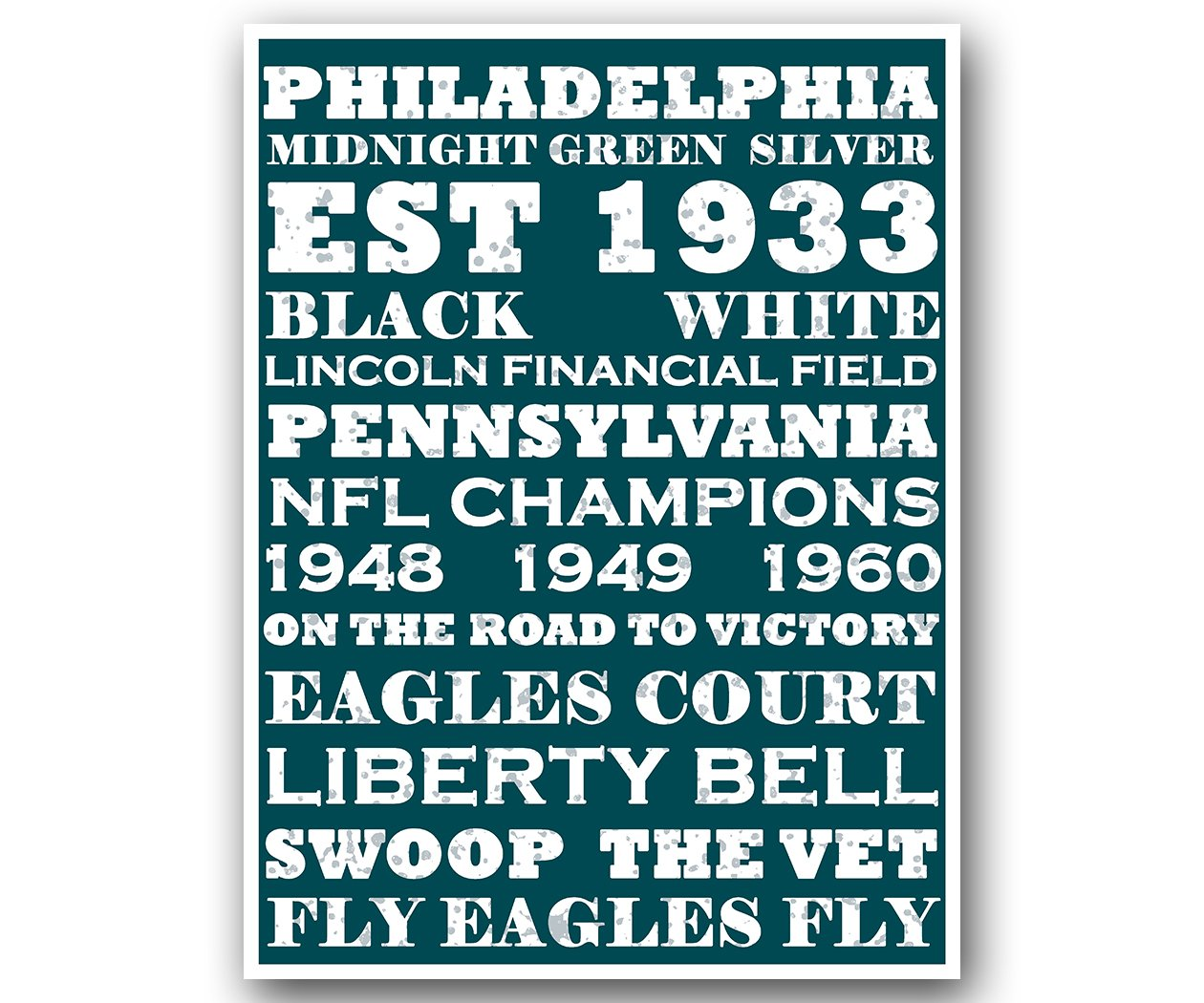 Philly Eagles Poster Subway Style Art Football NFL Print 12x16' Atlas