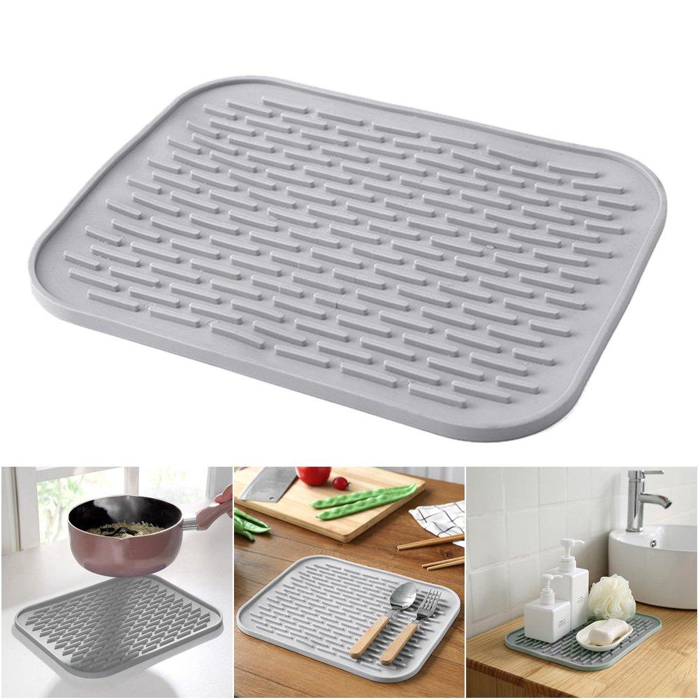 BESTONZON Silicone Dish Drying Mat|Extra Large Kitchen Dish Drainer Mat Trivet|Dishwasher Safe Draining Pad for Kitchen|29.5x23.8cm Gray