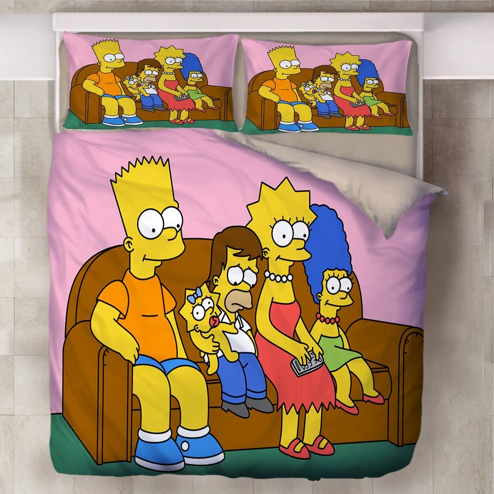 Single 140x210cm,01 ,/Épaissir et Doux NICHIYO The Simpsons Parure de lit 3 pi/èces avec 3D Housse de Couette Ensemble de 3 pi/èces literie Housse de Couette + 2 taies doreiller