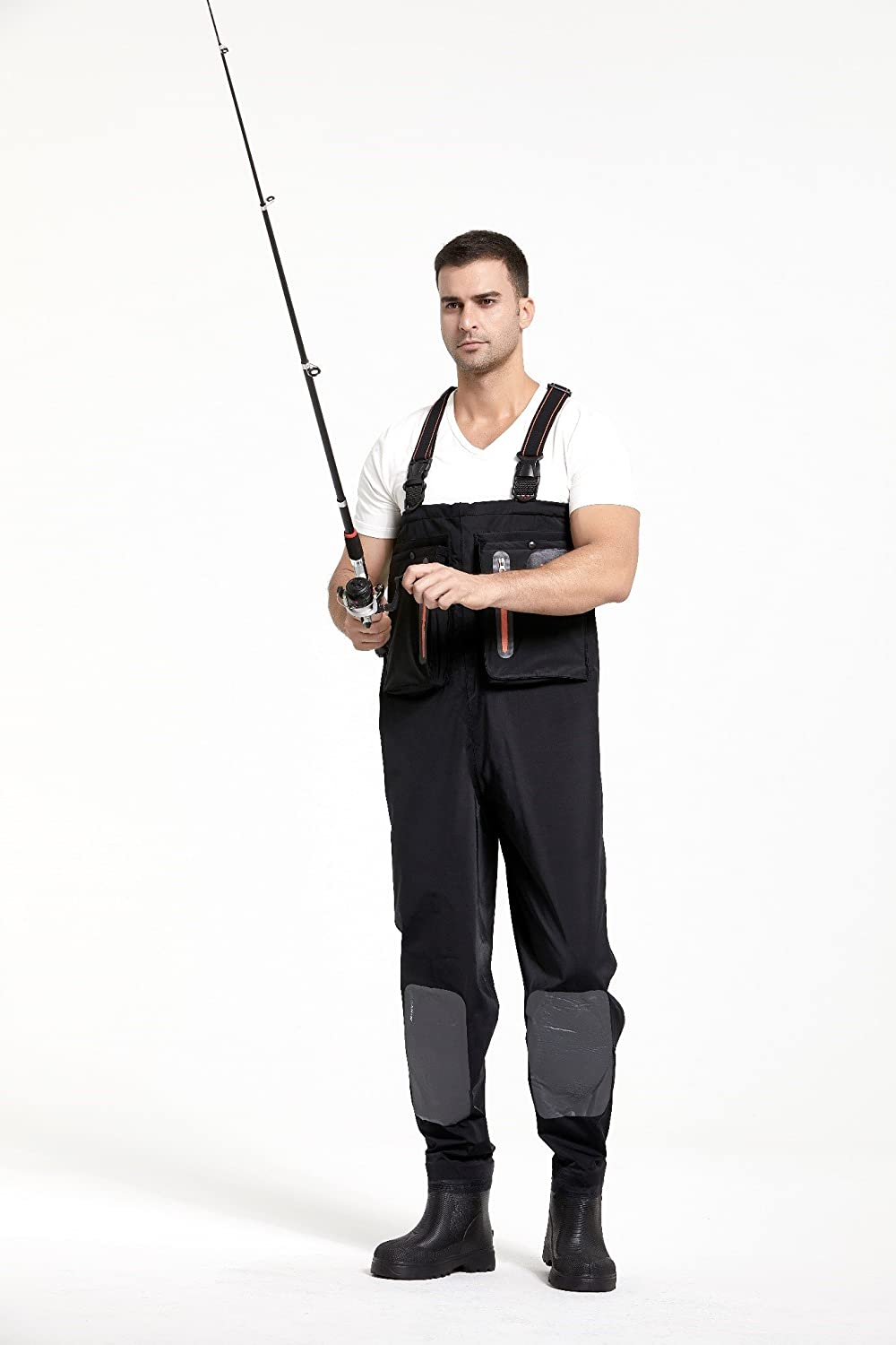 Small Adanin Waders Fly Fishing Waders for Men Black Hunting and Fishing Chest Waders with Rubber Boots