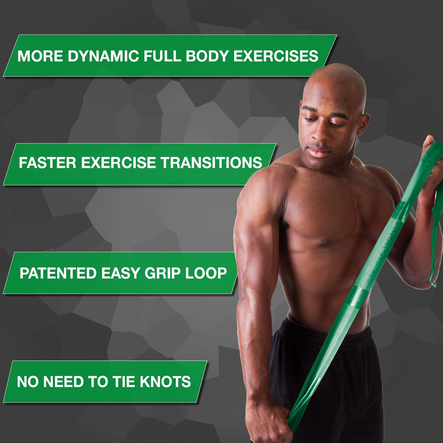 TheraBand CLX Resistance Band with Loops, Fitness Band for Home Exercise and Full Body Workouts, Portable Gym Equipment, Gift for Athletes, Individual 5 Foot Band, Green, Heavy, Intermediate Level 1 by TheraBand (Image #2)