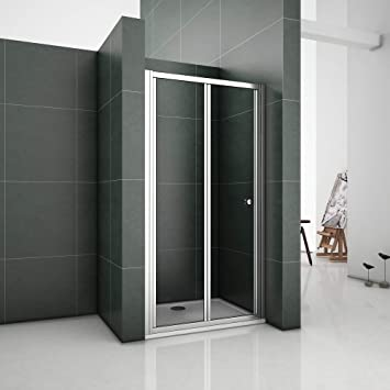 Aica Chrome 900mm Bifold Shower Enclosure Toughened Glass Door Panel Metal 90 X 26