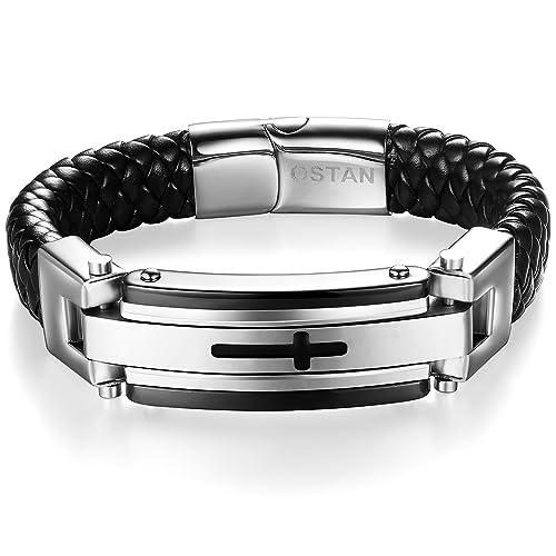 Amazon Com Ostan Mens Bracelet Men S Stainless Steel Bracelet