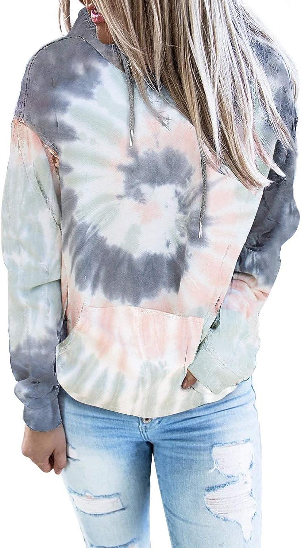 Amazon.com: Diukia Women's Fashion Tie Dye Print Pullover Hoodie Long  Sleeve Drawstring Hoodie Sweatshirt with Pocket S-2XL: Clothing