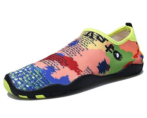 DoGeek Unisex Zapatos de Agua Acuático Escarpines para el Agua de Surf de Playa de Deporte para Mujer Hombre (43, Violett)