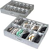 storageLAB Under Bed Shoe Storage Organizer, Adjustable Dividers - Set of 2, Fits 24 Pairs Total - Underbed Storage…