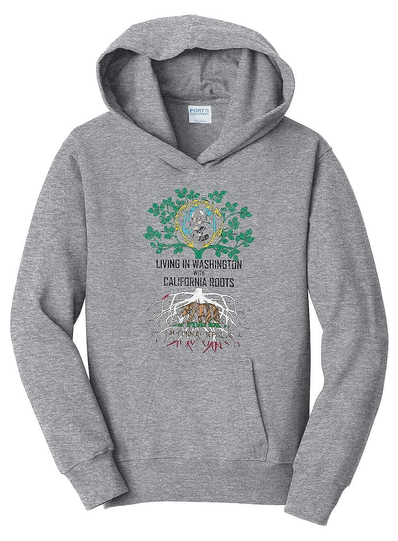 Tenacitee Girls Living in Washington with California Roots Hooded Sweatshirt
