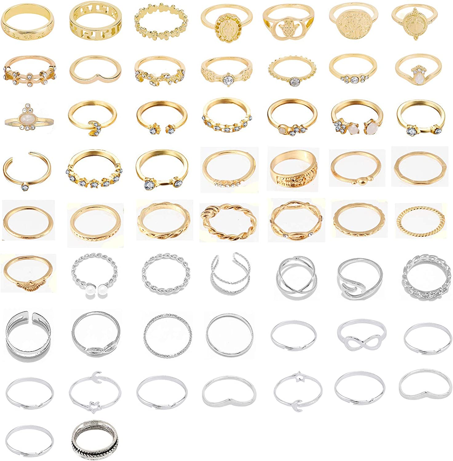 FUTIMELY 58PCS Boho Knuckle Rings Crystal Stackable Rings Set for Women Teen Girls Vintage Gold Silver Midi Joint Nail Finger Rings Set