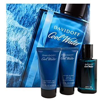 8259bf8672728 Image Unavailable. Image not available for. Colour  Cool Water Eau de  Toilette After Shave Balm Shower Gel Gift Set for Men