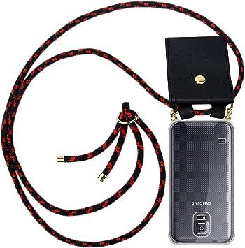 Cadorabo Funda con Cuerda para Samsung Galaxy S5 / S5 Neo en Negro Rojo – Cubierta Protección Collar para Colgar di TPU Silicona Transparente con Anillos OROS, Cordon y Estuche Removible: Amazon.es: