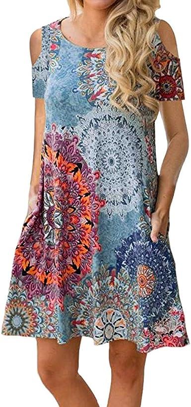 Sundress Women Casual Dress Short Sleeve Beach Dress