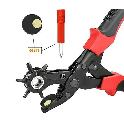 GuDoQi Set Alicates Perforador Giratorio Alicates de Punzón de Cuero 2.0mm - 4.5mm para
