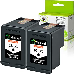 Nineleaf 2 Pack Remanufactured 62XL Black High Yield Ink Cartridge C2P05AN Compatible for HP Envy 5640 5642 5643 5644 5646 5660 7640 7645 OfficeJet 5740 5741 5742 5743 5745 8040 804 200 250 Printer