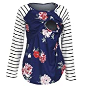 BEAdressy Women Double Layer Striped Print Long Sleeve Maternity Breastfeeding and Nursing Tops (S, Floral-Blue)