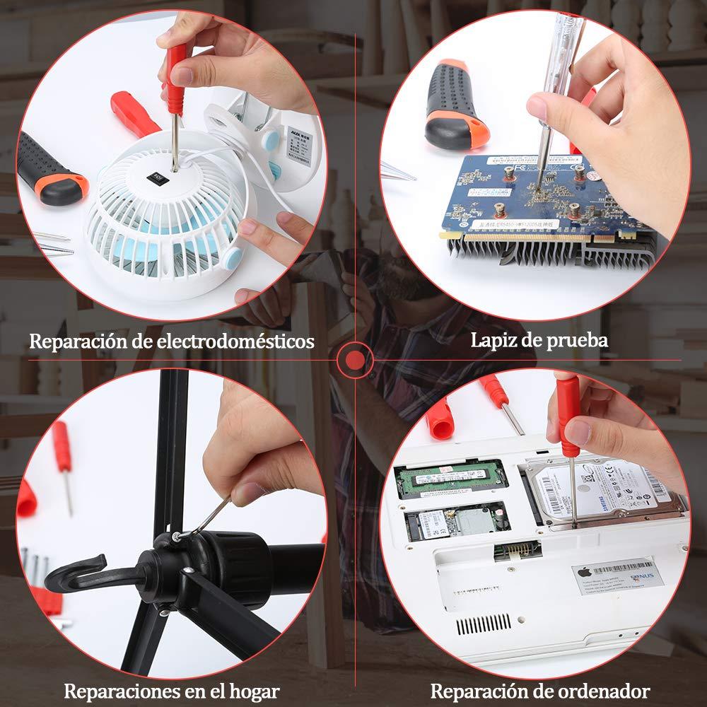 cuchillo de utilidad medida de cinta llaves hexagonales E/·Durable 21pcs Malet/ín de Herramientas Kit de herramienta de reparaci/ón del hogar con alicates de nariz larga probador de voltaje ect